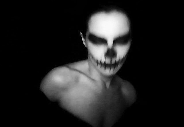 Me And The Devil, Skull, black and white photography, dark girl