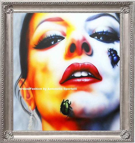 Quadro moderno donna multicolor volto surreale ArtAndFashionbySportelli