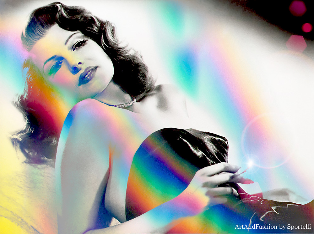 Gilda Rita Hayworth Digital Art Pop Art Black & White Rainbow