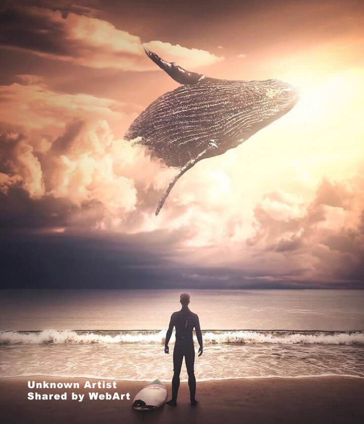 surreal art, whale in the sky, digital art