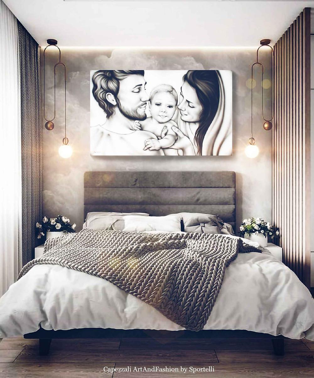 capezzale moderno Sacra Famiglia in camera da letto ardesia artandfashionbysportelli