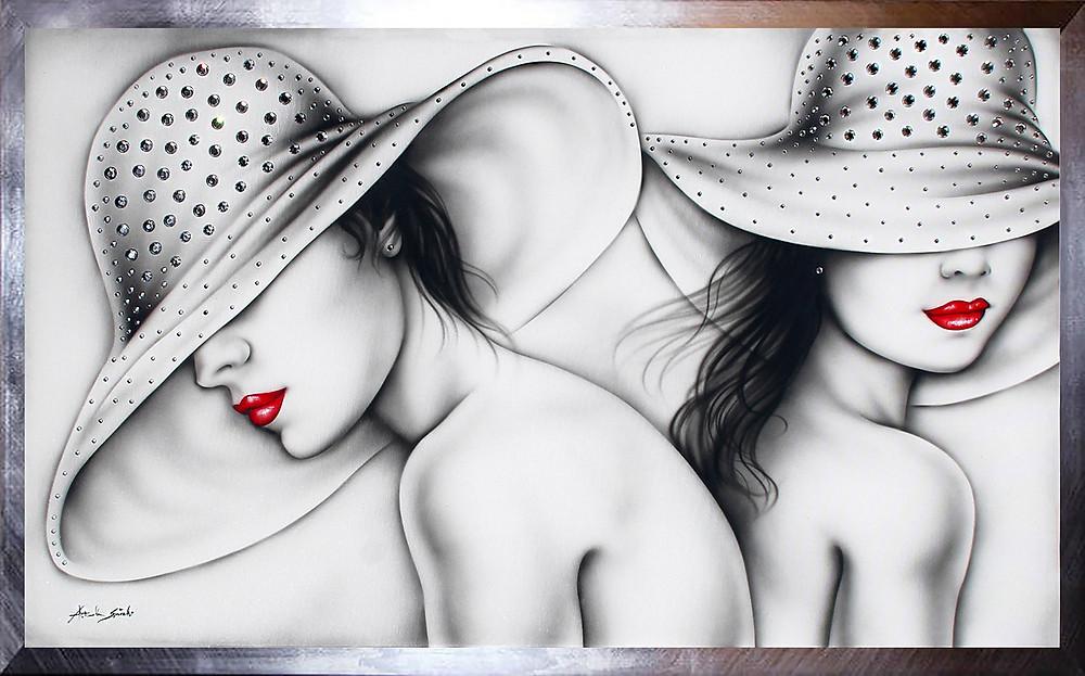 quadro donne con Swarovski, quadro moderno toni chiari