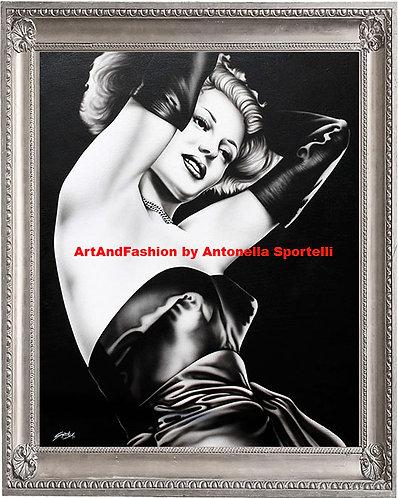 Quadro moderno Gilda, dipinti arredamento originali in bianco e nero