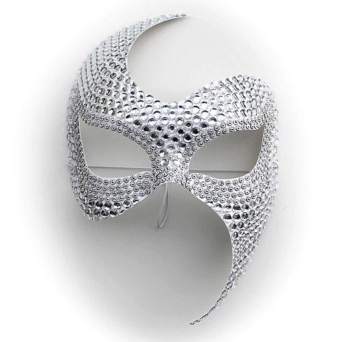 Maschera elegante bianca con strass