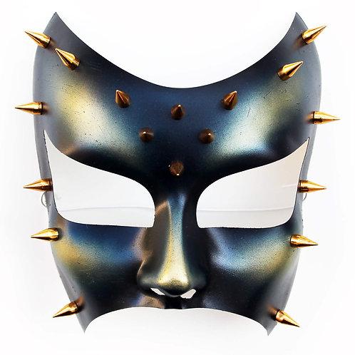 Maschera fetish BDSM chiodata blu oro