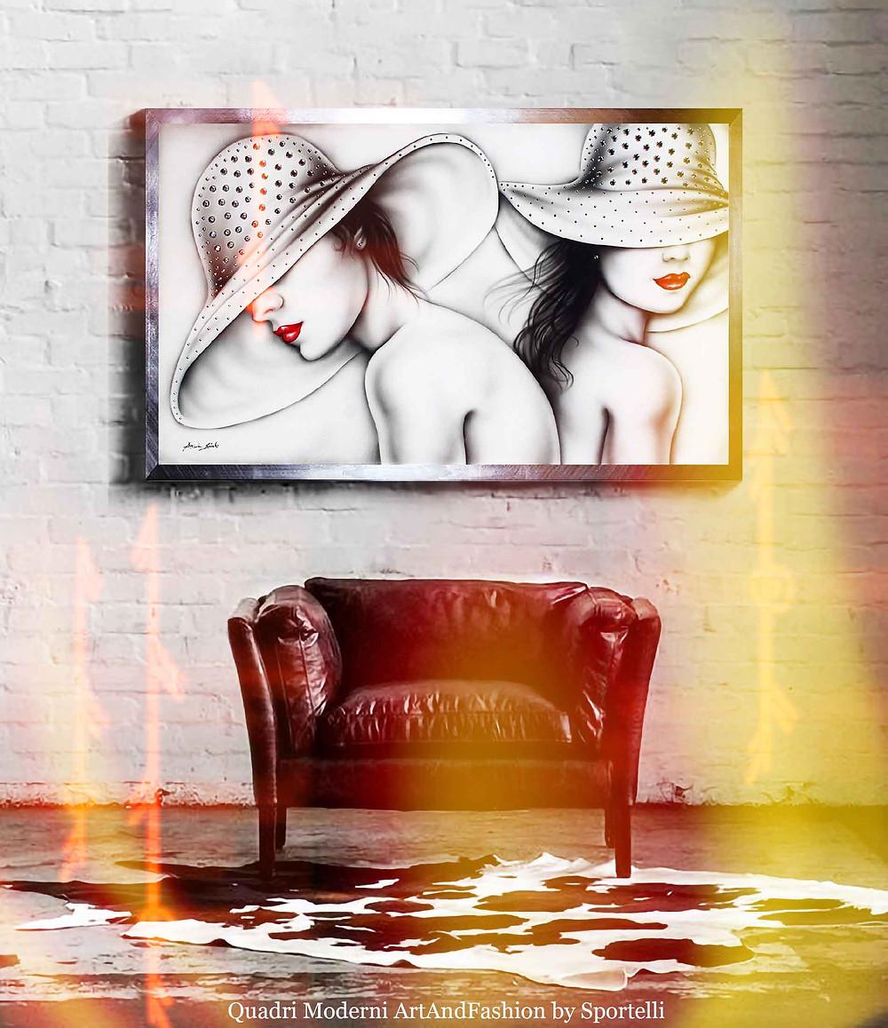 quadro-donne-con-cappelli-su-poltrona-rossa_ArtAndFashion-by-Sportelli