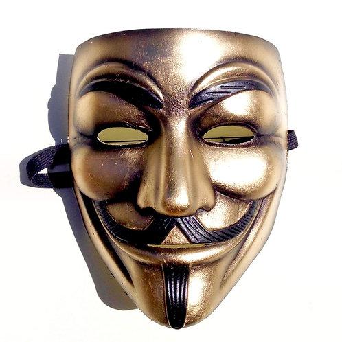Maschera V per Vendetta dorata con foglia oro