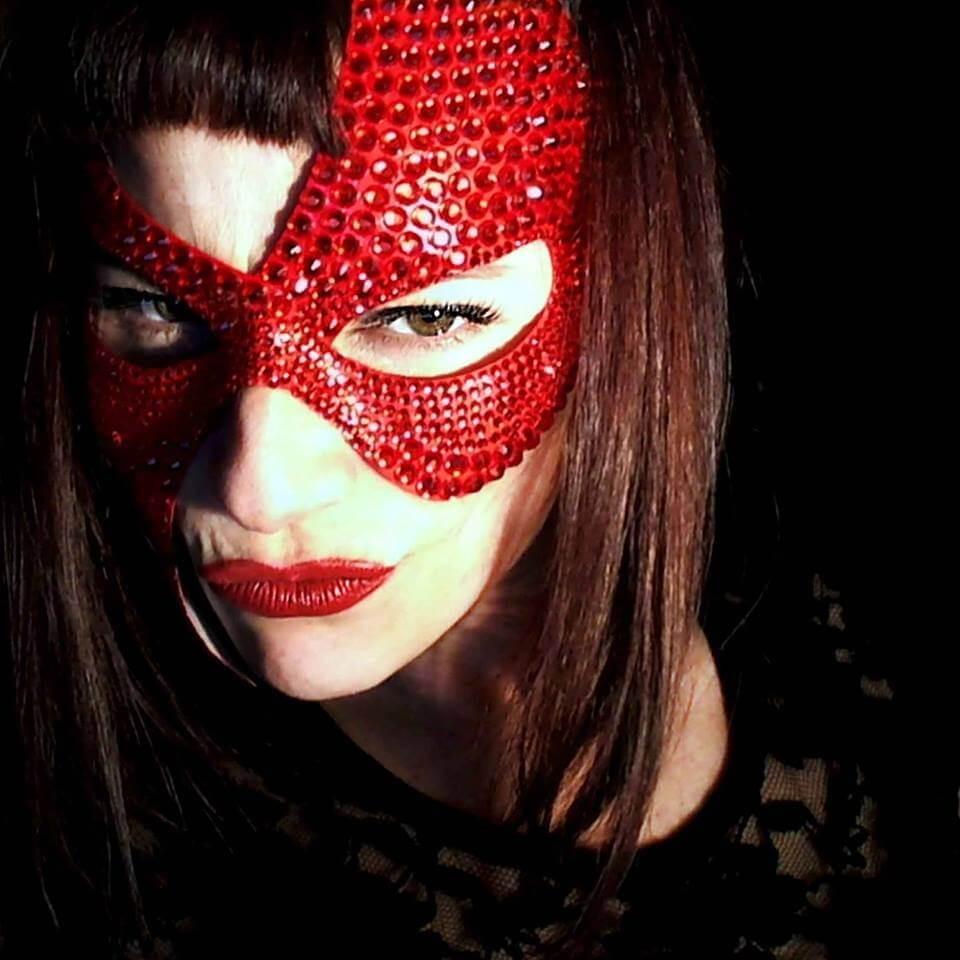 Maschera Sexy Rossa con Strass