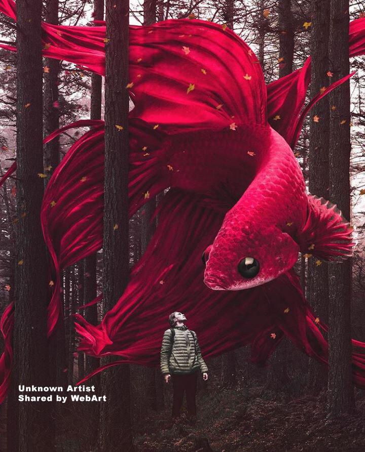 surreal red fish, digital art