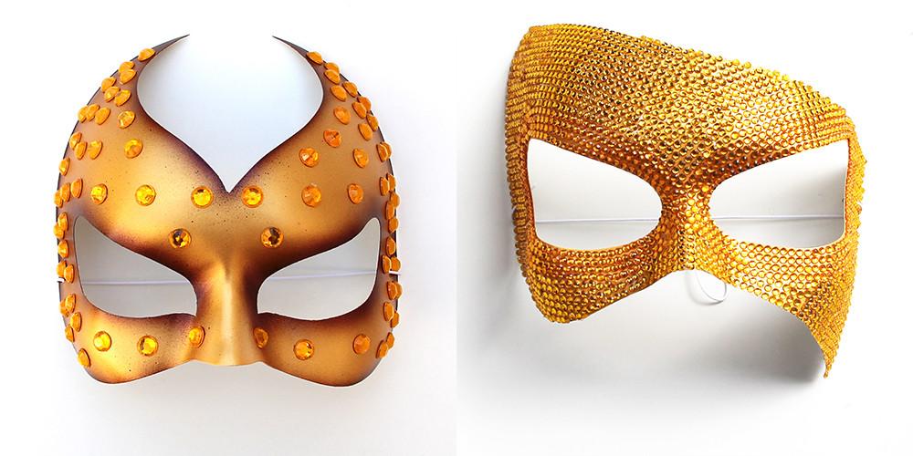 maschere fashion oro con strass