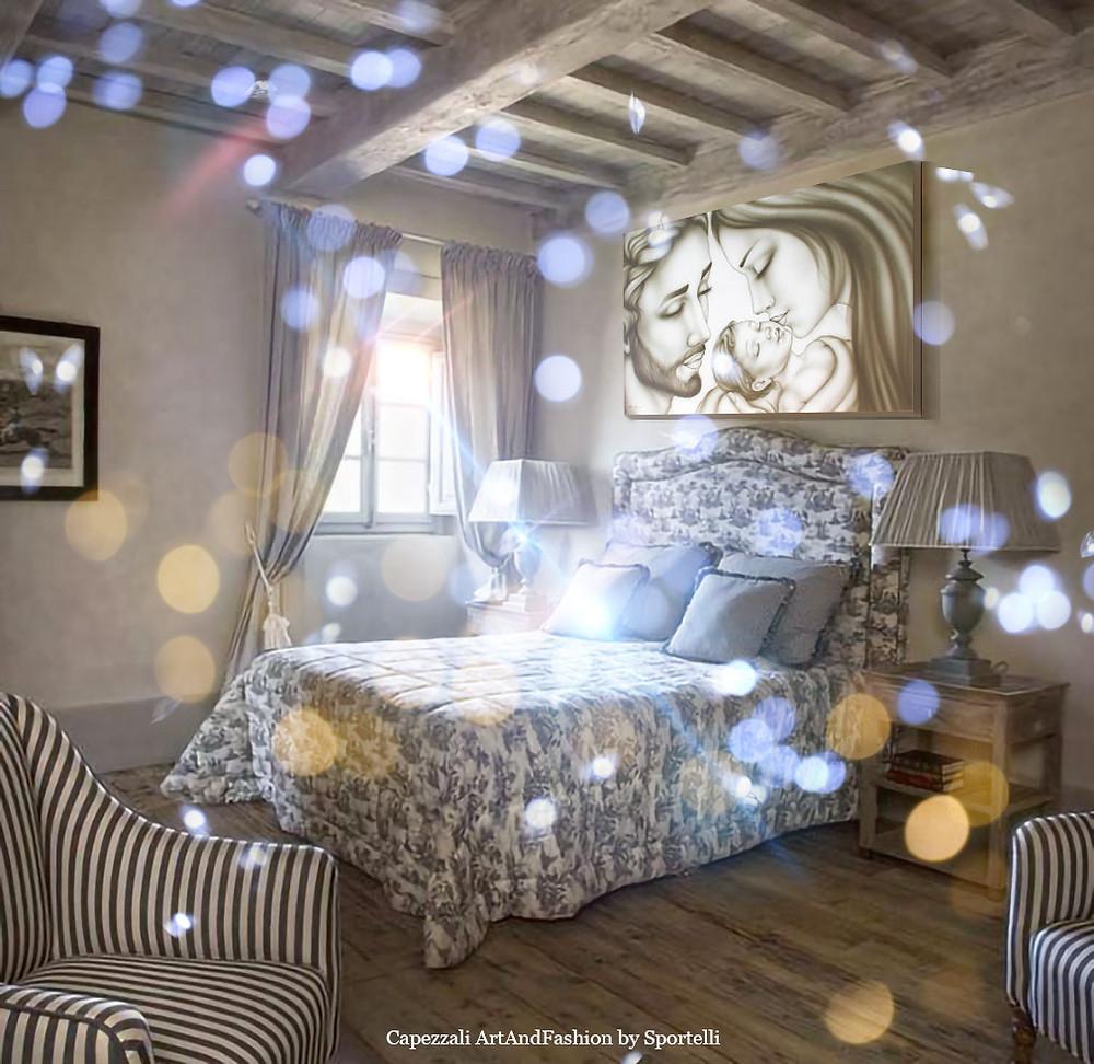 capezzale Sacra Famiglia tortora in camera da letto in stile romantico artandfashionbysportelli