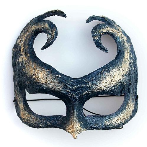 Maschera gotica da teatro blu con foglia oro ArtAndFashionBySportelli