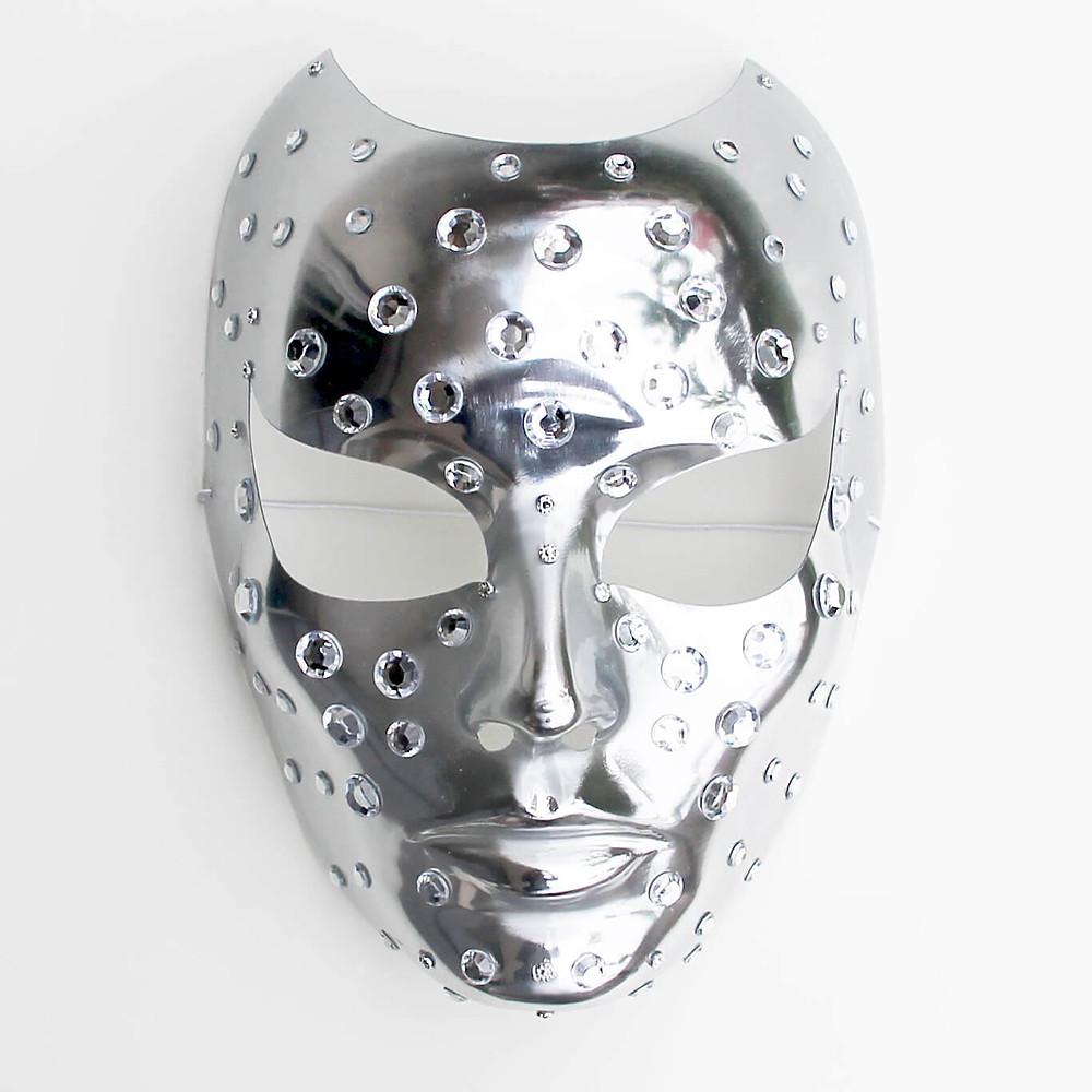 maschera cyborg carnevale, maschera argento, maschera elegante