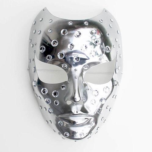 Maschera elegante argento con brillantini