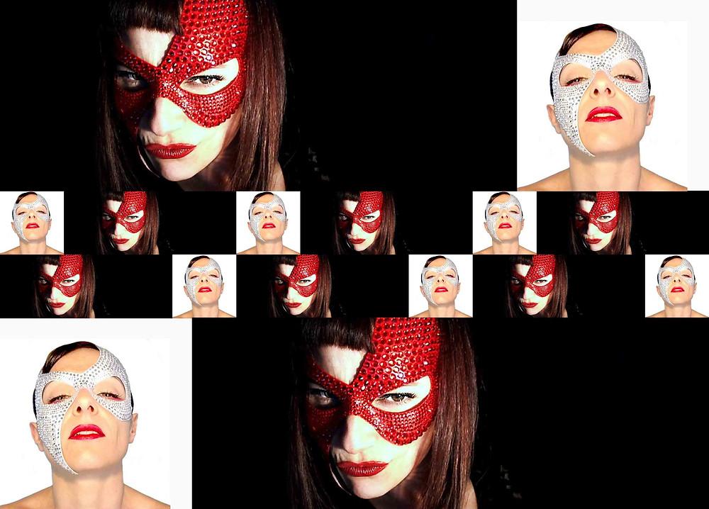 donne con maschere erotiche rosse e bianche