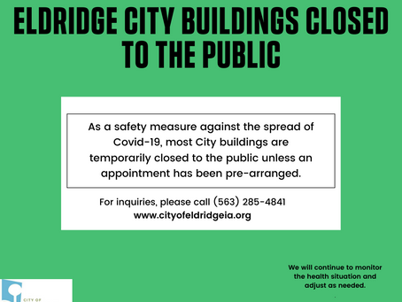 Due to COVID precautions, City Offices are closed to the public until further notice.