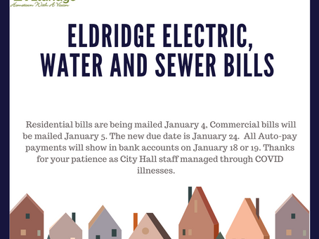 Jan Utility Bill Dates change due to COVID