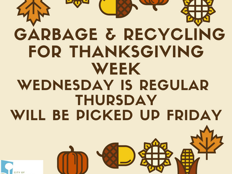 Thursday Garbage delayed due to Thanksgiving 2020