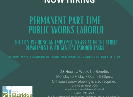 Part Time Public Works Job Opening