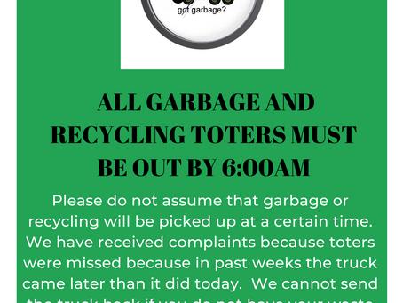 Residential Garbage Pickup Time Reminder
