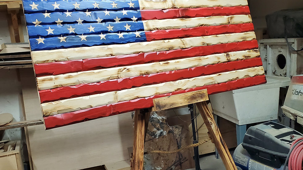 48 inch hand carved flag