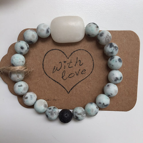 Amplify Calm - Sesame Jasper with Snow Quartz