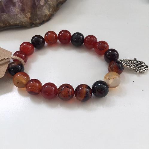Black & Orange Agate Mala Bracelet