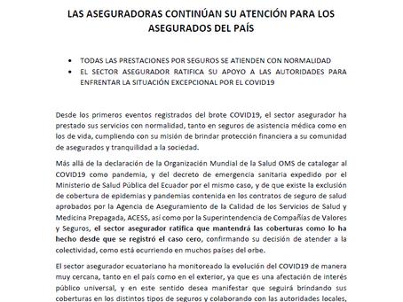 FEDESEG comunica a la ciudadanía sobre los seguros en el Ecuador y el coronavirus COVID19