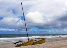 Beached catamaran.