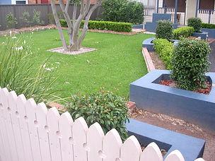 landscaped garden, lawn, crepe myrtle, picket fence
