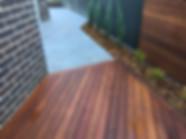 Decking, conifers, screening, tiling