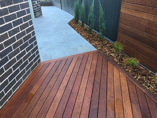 Decking, conifers, screening, tiling
