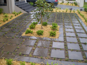 great gardens, black tiles, black pavers