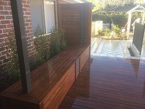 Bench seating, pergola, screening, tile feature