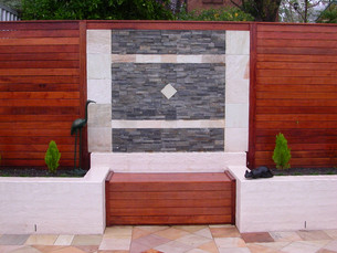 Stone Cladding, Timber seating