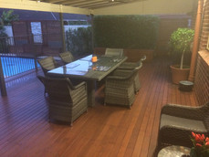 entertainment area, outdoor settings, decking, landscaping