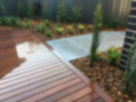 Decking, garden features, plants, conifers