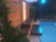 Pool ideas, timber screening, tile feature, landscape lighting