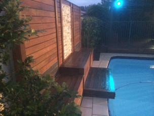 Pool ideas, timber screening, tile feature, landscape lighting