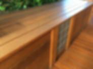timber bench, tiling, decking, merbau
