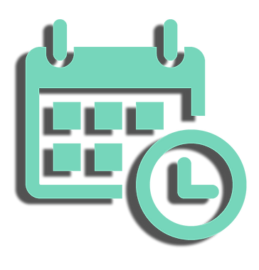 icon drawing of calendar with clock