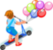 drawing of a child on scooter with balloons