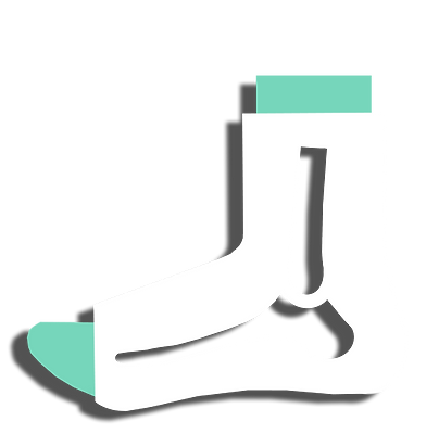 icon drawing of foot and calf with a cast over the ankle