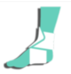 icon drawing of a foot and calf with a splint over the ankle