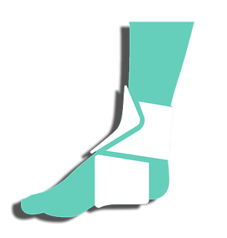 icon drawing of foot and calf with splint over ankle
