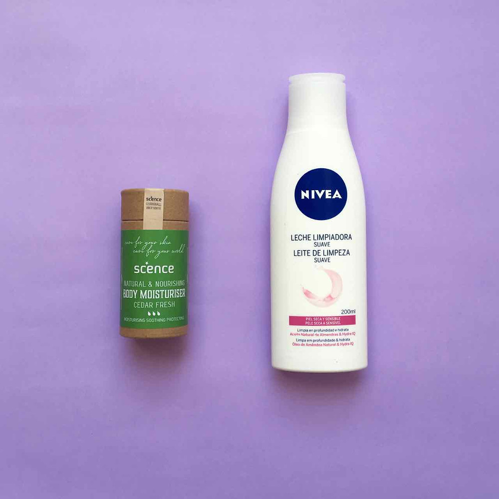 Plastic-free moisturiser in cardboard compostable packaging