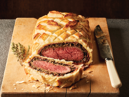 Welsh Beef Wellington with port and mushroom sauce