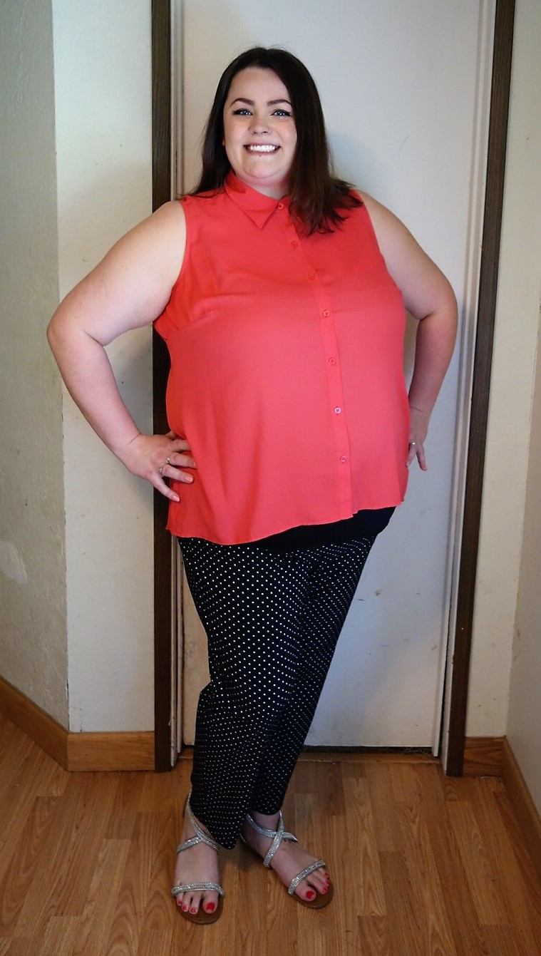 Drea's hipster look with button-up top and polka dot pants