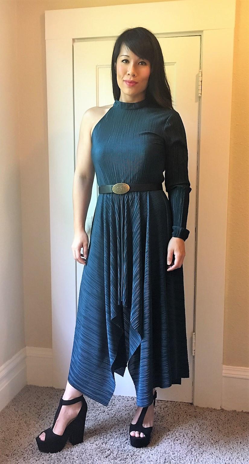 Kat Depner holiday style green one shoulder dress