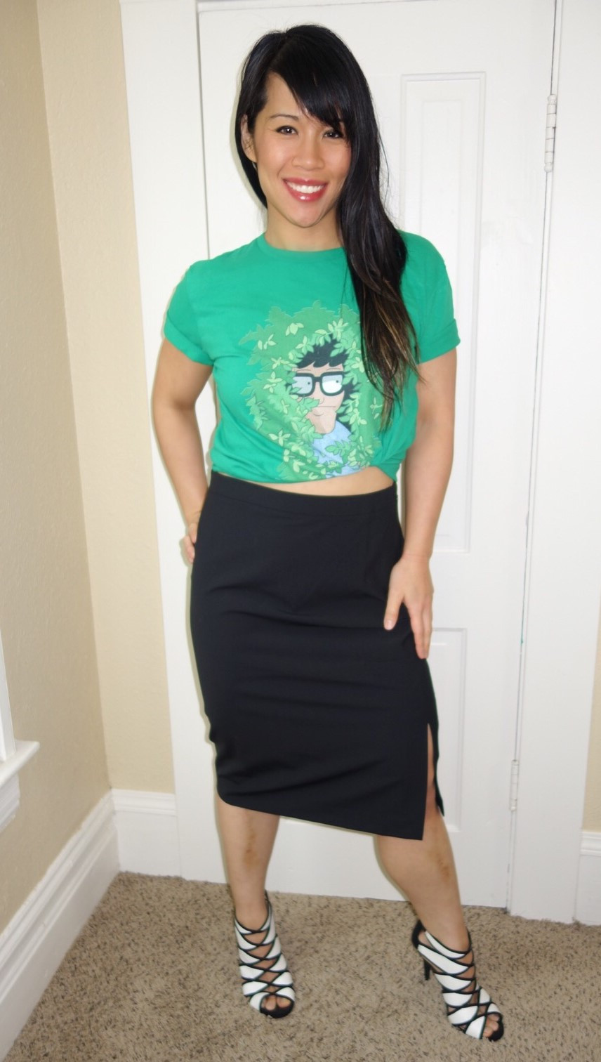 Kat wearing graphic tee with pencil skirt
